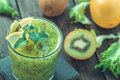 Smoothie with kiwi and lemon Royalty Free Stock Photo