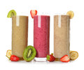 Smoothies strawberry, banana and kiwi Royalty Free Stock Photo