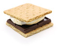 S'more campfire treat is a popular in the united states and canada a toasted marshmallow and a chocolate sandwiched between two Stock Photography