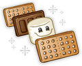 Smores Marshmallow Cartoon Character Royalty Free Stock Images