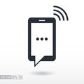 SMS flat Icon. Sign mobile phone. Vector logo for web design, mobile and infographics