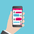 Sms messenger. Speech bubbles. Phone chat interface. Vector Royalty Free Stock Photo