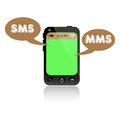 Sms and mms smartphone with green screen two messages coming out from its screen short message service multimedia messaging Stock Photography