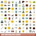 100 smuggling icons set, flat style