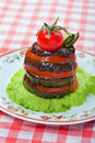 Snack of aubergine and tomato Royalty Free Stock Photos