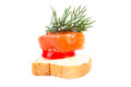 Snack with fish and dill Stock Images