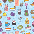 Snack food love doodle seamless pattern illustration of or with blue background Stock Photos