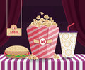 Snack movie vector scene for theater look show Stock Images