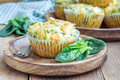 Snack muffins with spinach and feta cheese