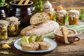 Snack in the pantry stocks for the winter on old wooden table Royalty Free Stock Photography