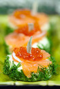 Snack with red salmon caviar Royalty Free Stock Photography