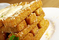 Snack roast rusk from dark bread with cheese Stock Images