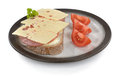 Snack vesper lunch dish with ham cheese bread und tomatoe Stock Photo