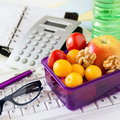 Snack at work box with fruits Stock Image