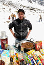Snacks vendor at sub zero temperatures Royalty Free Stock Images