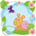 Snail and butterfly among flowers illustration of funny leaves on sky background Stock Photography