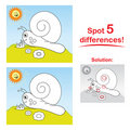 Snail cartoon: Spot 5 differences! Royalty Free Stock Photos