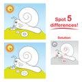 Snail cartoon: Spot 5 differences!