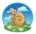 Snail on the color background Royalty Free Stock Photo