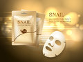 Snail cosmetic ads template, face mask and golden sachet package mockup for ads or magazine. Vector beauty concept. Royalty Free Stock Photo