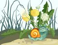 Snail and dandelions. Royalty Free Stock Image