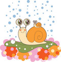 Snail family on a rainy day Royalty Free Stock Photos