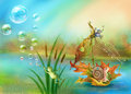 Snail floating on water raster illustration Stock Images