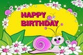 Snail and flowers - Birthday card Royalty Free Stock Photos