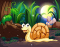 A snail in the forest illustration of Stock Images