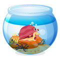 A snail inside an aquarium illustration of on white background Royalty Free Stock Image