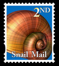 Snail mail stamp Royalty Free Stock Photo