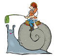 Snail race man sitting on racing with leaf as incentive Stock Photo