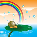 Snail and the rainbow vector Royalty Free Stock Image