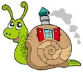 Snail with shell house Royalty Free Stock Photo