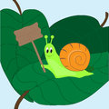 Snail with a sign positive on leaves Stock Image