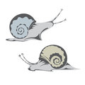 Snail two snails on a white background Stock Photos