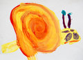 Snail, watercolor drawing