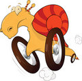 Snail on wheels. Cartoon Royalty Free Stock Photos