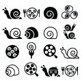 Snails, French snail meal - escargot icons set Royalty Free Stock Photo