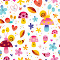 Snails mushrooms flowers hearts seamless pattern