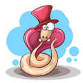Snake cartoon, hat and tooth. Royalty Free Stock Photo