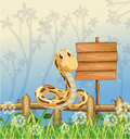 A snake at the fence illustration of Royalty Free Stock Photo