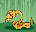 Snake in the jungle cartoon illustration of funny Royalty Free Stock Images