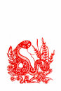 Snake,paper cutting Chinese Zodiac. Royalty Free Stock Photo