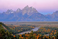 Snake River at dawn in fall colors. Royalty Free Stock Photo