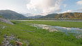Snake River and marshy banks under cumulus cloud sky in Alpine Wyoming Royalty Free Stock Photo