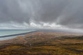 Snake Road in Iceland. Landscape. Cloudy Blue Sky. Wide Angle. Ocean.
