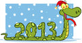Snake showing numbers 2013 with santa hat Stock Photo