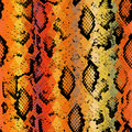 Snake skin texture with colored rhombus. Geometric background. Seamless pattern black brown yellow red background, colorful psych