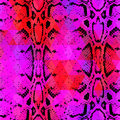 Snake skin texture with colored rhombus. Geometric background. Seamless pattern black lilac pink red background, colorful psyched